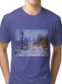 Claude Monet - Road To Giverny In Winter Tri-blend T-Shirt
