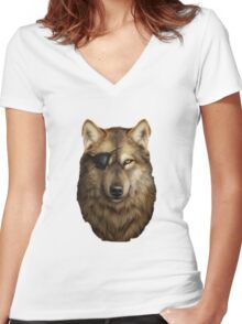 wolf 2 Women's Fitted V-Neck T-Shirt