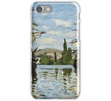 Claude Monet - Ships Riding On The Seine At Rouen 1872  iPhone Case/Skin