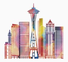 Seattle landmarks watercolor poster One Piece - Short Sleeve