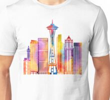 Seattle landmarks watercolor poster Unisex T-Shirt