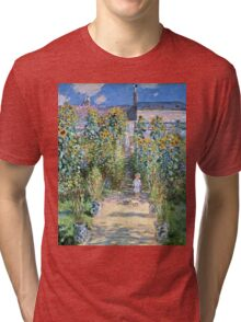 Claude Monet - The Artists Garden At Vetheuil (1880)  Tri-blend T-Shirt