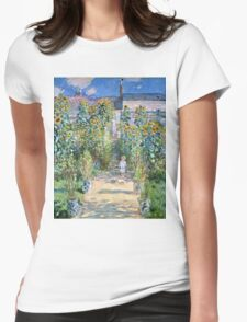 Claude Monet - The Artists Garden At Vetheuil (1880)  Womens Fitted T-Shirt