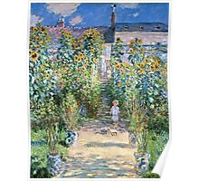 Claude Monet - The Artists Garden At Vetheuil (1880)  Poster