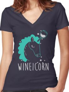 Wineicorn Women's Fitted V-Neck T-Shirt