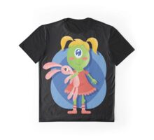 Cute Little Monster with Bunny Graphic T-Shirt