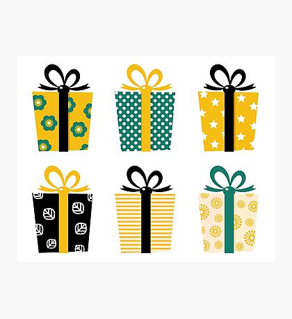 Set of patterned gift boxes for birthday / xmas : Special designers Edition Photographic Print