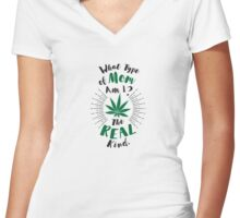 Cannabis Mom Women's Fitted V-Neck T-Shirt