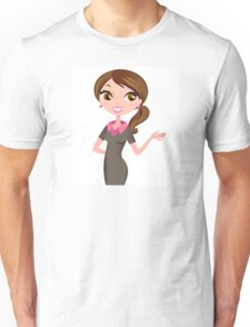 Brunette business woman show Result with hand Unisex T-Shirt
