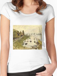 Claude Monet - The Port Of Argenteuil (Le Bassin De Argenteuil) 1874  Women's Fitted Scoop T-Shirt
