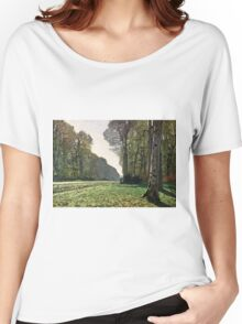 Claude Monet - The Road To Bas-Breau, Fontainebleau (Le Pave De Chailly) 1865  Women's Relaxed Fit T-Shirt
