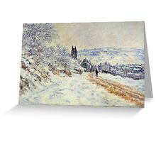 Claude Monet - The Road To Vetheuil Snow Effect Greeting Card