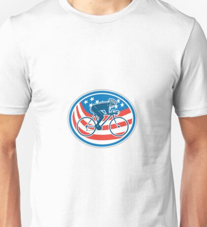 Cyclist Riding Mountain Bike American Flag Oval Unisex T-Shirt