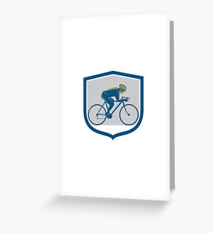 Cyclist Riding Mountain Bike Shield Retro Greeting Card