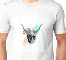 Floral sketch watercolor skull Unisex T-Shirt