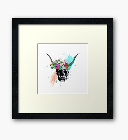 Floral sketch watercolor skull Framed Print