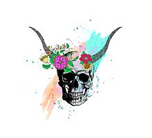 Floral sketch watercolor skull Photographic Print