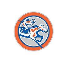 Jockey Horse Racing Circle Woodcut Retro by patrimonio
