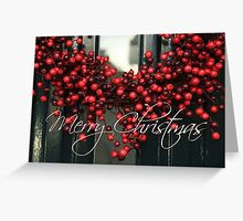 Merry Christmas red berries Greeting Card