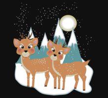 Christmas Festive Whimsical Reindeer Snow Scene Baby Tee