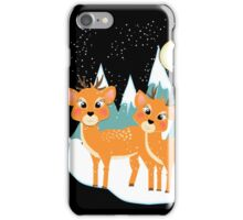 Christmas Festive Whimsical Reindeer Snow Scene iPhone Case/Skin