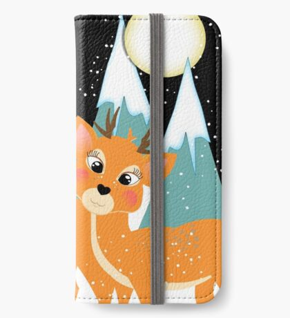 Christmas Festive Whimsical Reindeer Snow Scene iPhone Wallet/Case/Skin