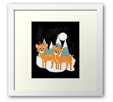 Christmas Festive Whimsical Reindeer Snow Scene Framed Print