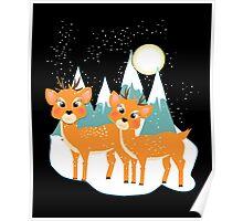 Christmas Festive Whimsical Reindeer Snow Scene Poster
