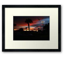 SABEL PALM PLAZA SUNSET Framed Print