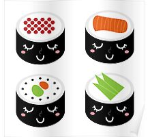 Sushi collection isolated on white Poster