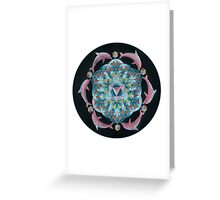 Pink Dolphin Flower of Life Mandala Greeting Card