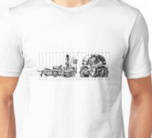 Car synchromesh (4 speed) gearbox drawing.... Unisex T-Shirt