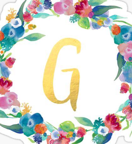 Floral Initial Wreath Monogram G Sticker