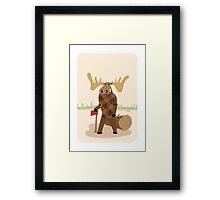 "Timothy McGilicutty the Lumberjack Moose - ""Up North"" series 3 of 3 Framed Print"