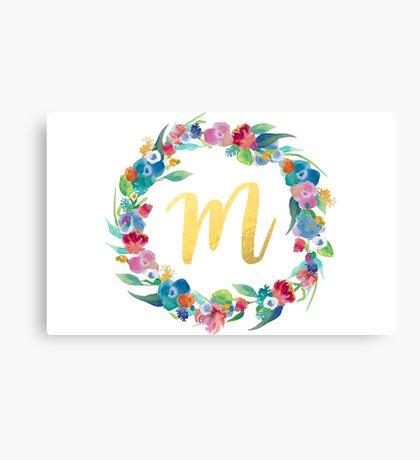Floral Initial Wreath Monogram M Canvas Print