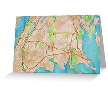 Watercolor map of The Bronx Greeting Card