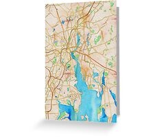 Watercolor map of Providence Rhode Island Greeting Card