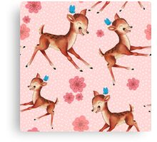 Cute fawn and butterfly amongst flowers Canvas Print