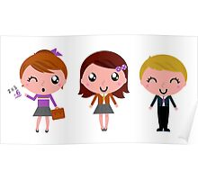 Cute school children. Just perfect illustrated Gift. Poster