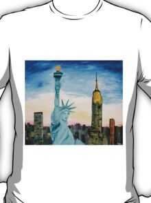 Statue Of Liberty With View Of New York T-Shirt