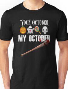TWD Lucille Baseball Bat Emoji Halloween Design Funny Your October My October Dead Unisex T-Shirt