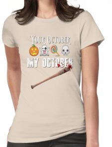 TWD Lucille Baseball Bat Emoji Halloween Design Funny Your October My October Dead Womens Fitted T-Shirt