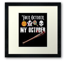 TWD Lucille Baseball Bat Emoji Halloween Design Funny Your October My October Dead Framed Print