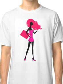 Fashion woman silhouette : original vintage hand-drawn Illustration Classic T-Shirt