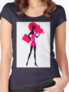 Fashion woman silhouette : original vintage hand-drawn Illustration Women's Fitted Scoop T-Shirt