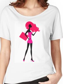 Fashion woman silhouette : original vintage hand-drawn Illustration Women's Relaxed Fit T-Shirt