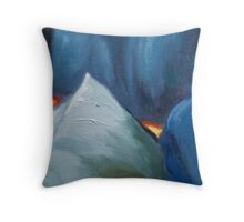 cool colors abstract painting Throw Pillow