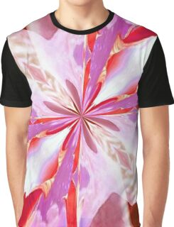 Red and White Tulip Abstract Graphic T-Shirt
