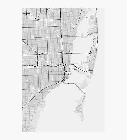 Miami, USA Map. (Black on white) Photographic Print