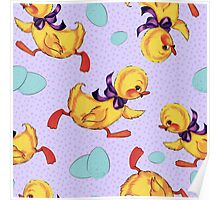 Baby duckling and eggs pattern Poster